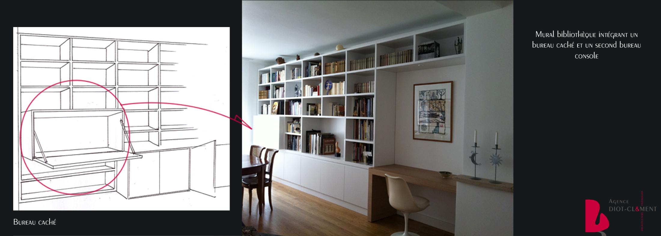 Biblioth ques agence diot clement - Bibliotheque avec bureau integre ...