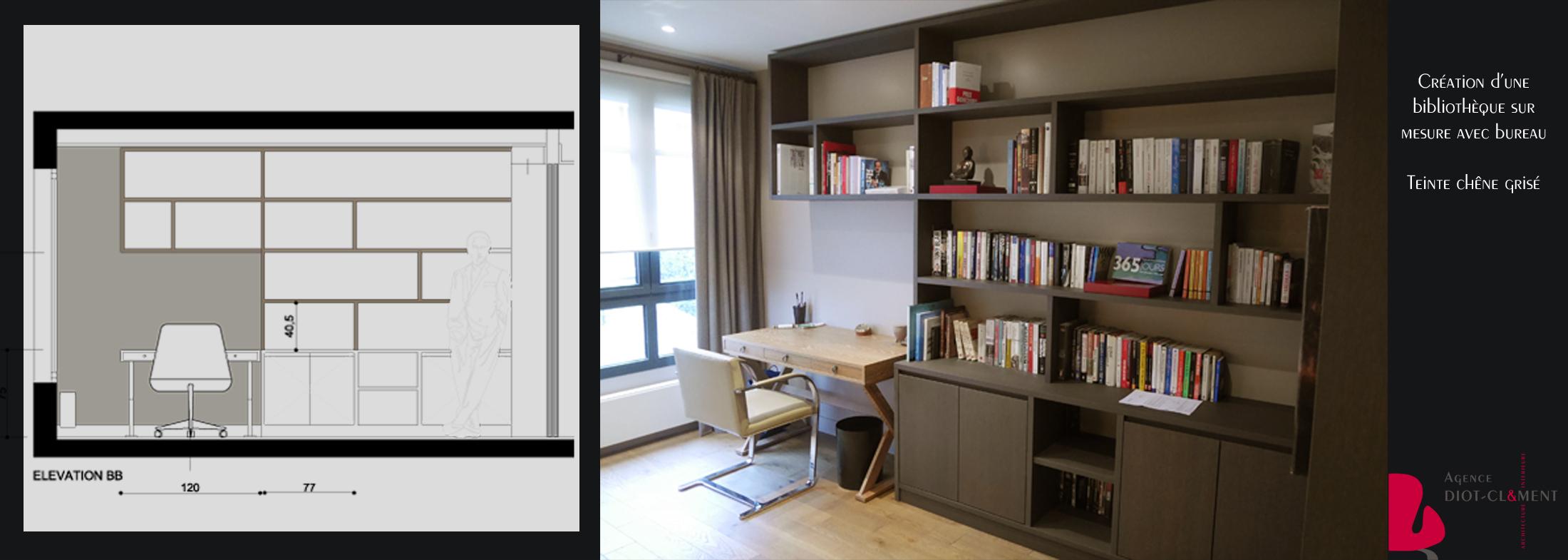 Bibliotheque et bureau int gr portfolio tags agence for Salon avec bibliotheque